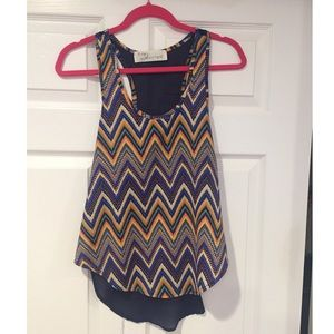 Chevron and mesh back patterned tank